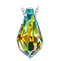 PRINCESS NINA Magic Stone Series 925 Sterling Silver Women Necklace Pendant, Earrings with Crystals from Swarovski [Aurore Boreale], Christmas Gifts, Elegant Jewellery Box, Every Special Moment