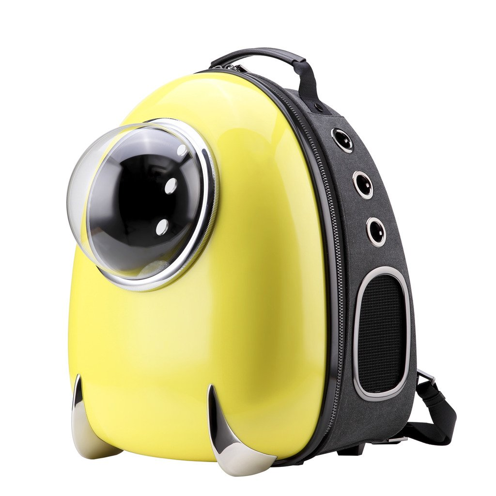 CLOVERPET C0203 Innovative Fashion Bubble Pet Travel Carrier Backpack for Cats Dogs Puppy, Yellow, 13.4'' LX13 WX16.9 H by CLOVERPET