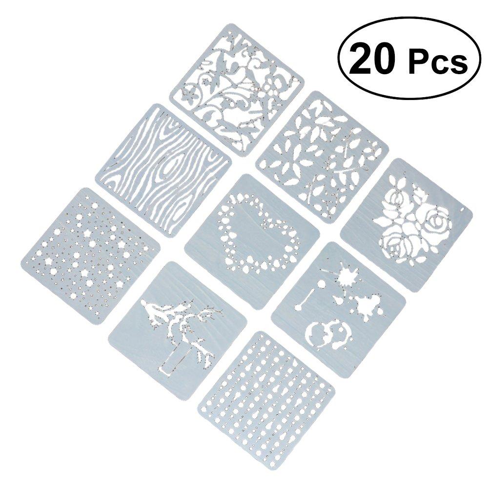 Healifty 20pcs plantillas de dibujo de pintura plástica santificar plantillas de plantillas de gráficos para álbum de fotos de bricolaje Scrapbooking (patrón mixto)