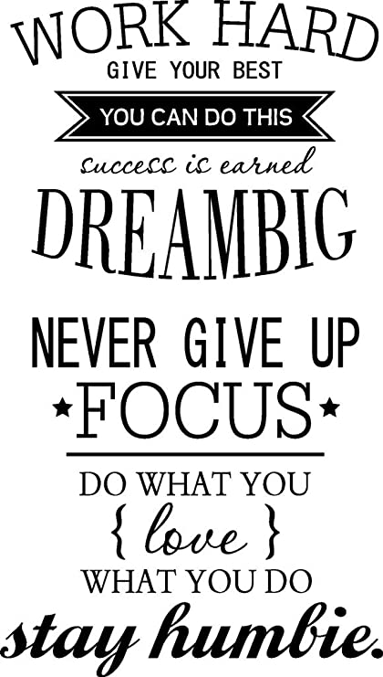 Amazon Removable Quotes Work Hard Never Give Up Wall Dcor