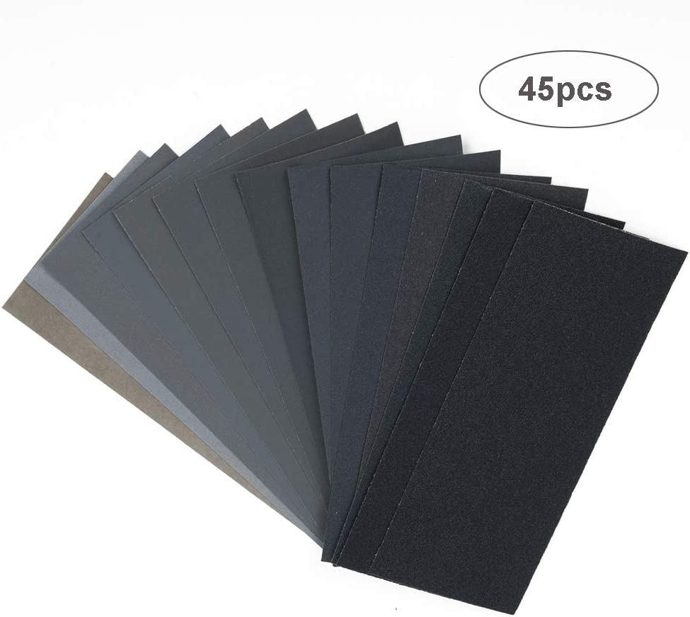 IKAAR Sandpaper 45Pcs 150 to 7000 Grit Wet Dry Sandpaper Assortment Waterproof Sand Paper Set for Wood Sanding Furniture Finishing Metal Sanding and Automotive Polishing