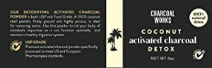Coconut Activated Charcoal Powder by CHARCOAL WORKS   USP Food Grade Charcoal Drink   Detox   High Adsorptive Capacity   Fast Acting   Half Pint 4oz