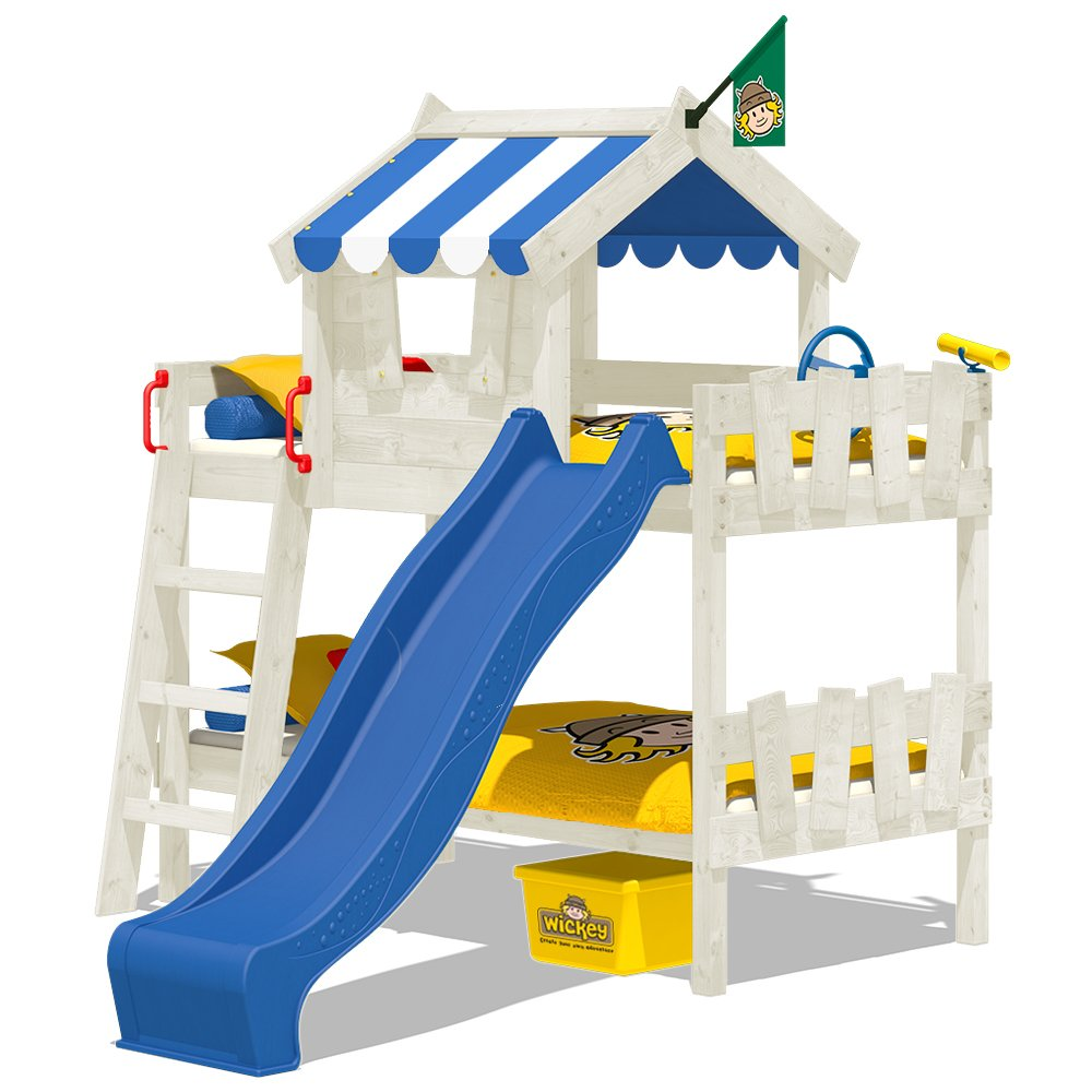 WICKEY Lits superposÉs CrAzY Circus lit mezzanine lit enfant avec toboggan - toit et sommier À lattes - bÂche bleu