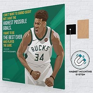 Giannis Antetokounmpo - NBA Metal Poster - Basketball Wall Art, Living Room House Decor Magnetic Hanging - Motivational Sports Poster, Perfect as Basketball Gift for Boys, Teens, Men