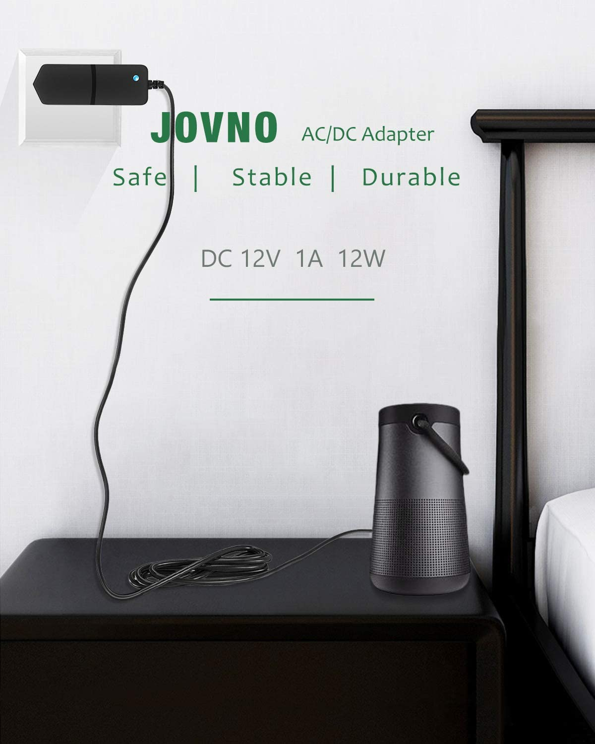 JOVNO 12V 1A Power Supply Adapter 100-240V AC to DC 12volt 12W 1amp 800mA 500mA Power Converter Transformer with 5.5x2.5mm Tip for WiFi IP Home Camera DVR NVR CCTV Security System Wireless Router