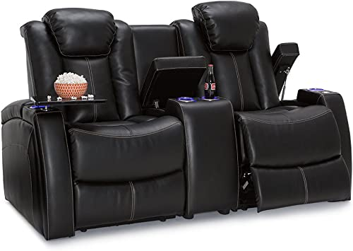 Seatcraft Omega Home Theater Seating Loveseat Leather Gel Black with Adjustable Powered Headrests, USB Ports, Storage Console, Lighted Cup Holders, Power Recliners