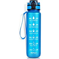 GULFYA 32OZ Leakproof Healthy BPA Free Motivation Water Bottle with Time Marker & Strainer. Anti Slip for Fitness, Gym…