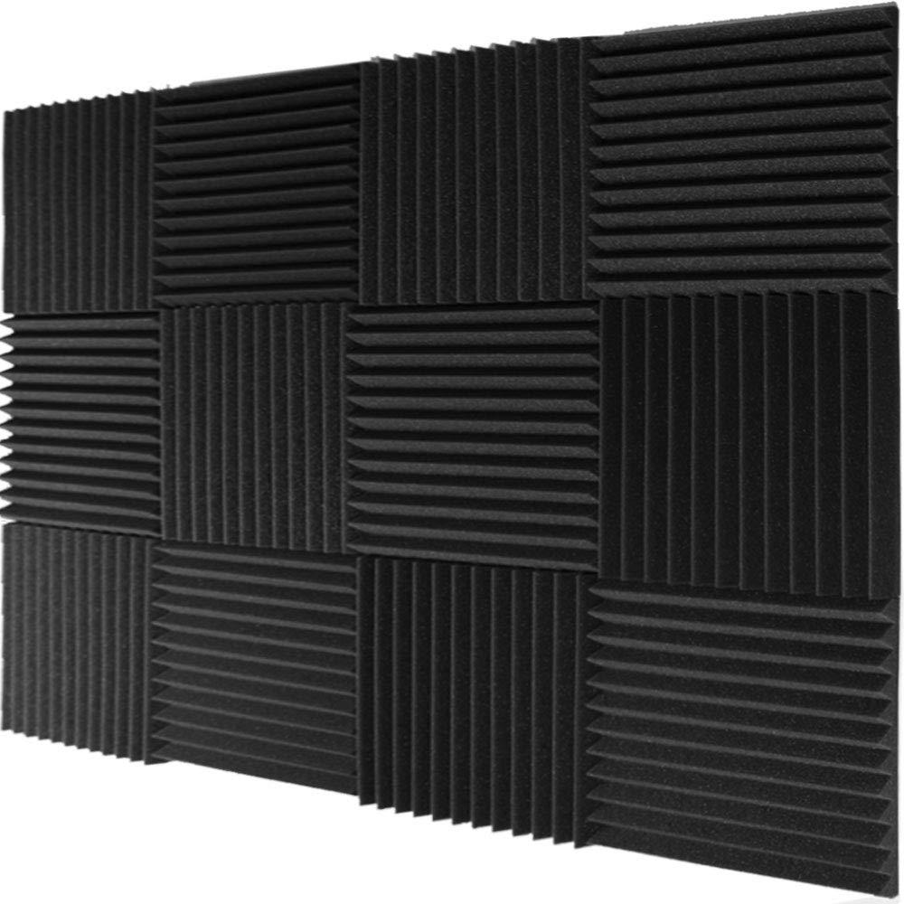 Mybecca 12 Pack- Acoustic Panels Studio Foam Wedges 1'' X 12'' X 12'', Charcoal