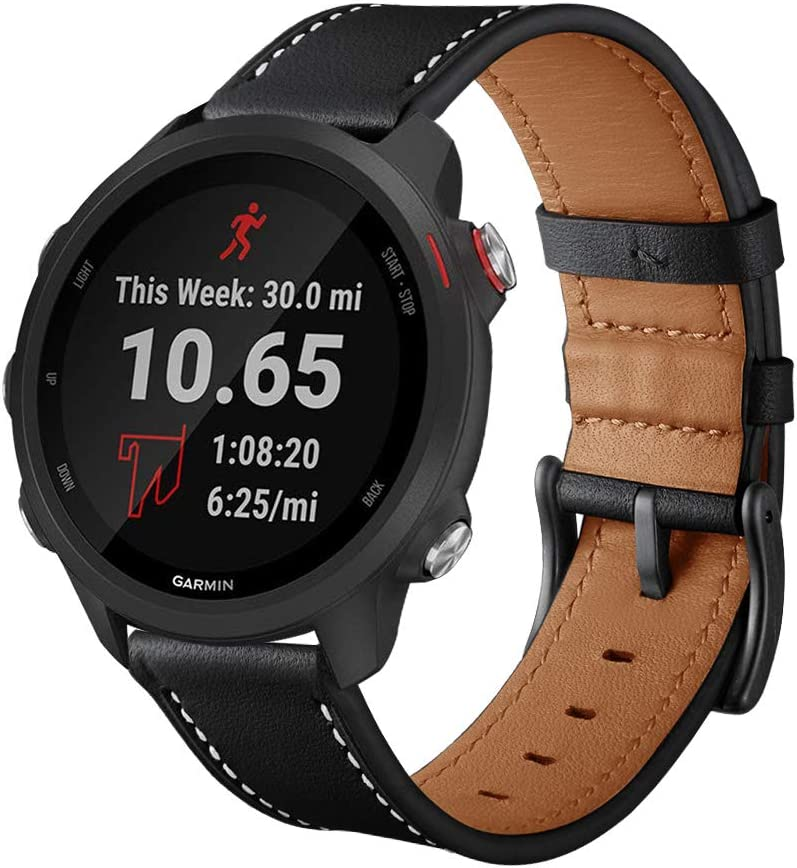 Intoval Compatible with Garmin Forerunner 245 Bands/Forerunner 245/645 Music,20mm Classic Leather Women Men Replacement Sport Band for Garmin Forerunner 245/645 GPS Running Watch.
