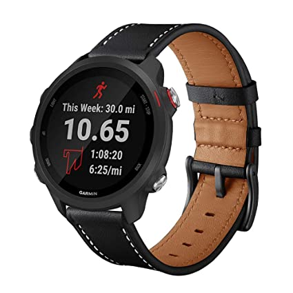 Intoval Compatible Garmin Forerunner 245 Bands/Garmin Forerunner 245/645 Music,20mm Classic Leather Women Men Sport Band Replacement Wrist Straps for ...
