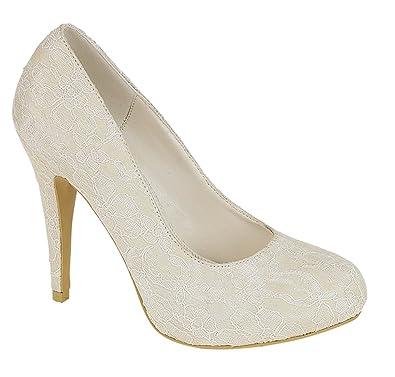 Chic Feet Damen High Heel Schuhe Elfenbein Satin und Spitze
