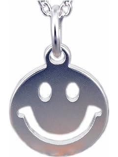 NicoWerk Silberkette mit Anhänger Smiley Strichgesicht Halskette Damen 925  Silber Kette Schmuck SKE170 03697c619f