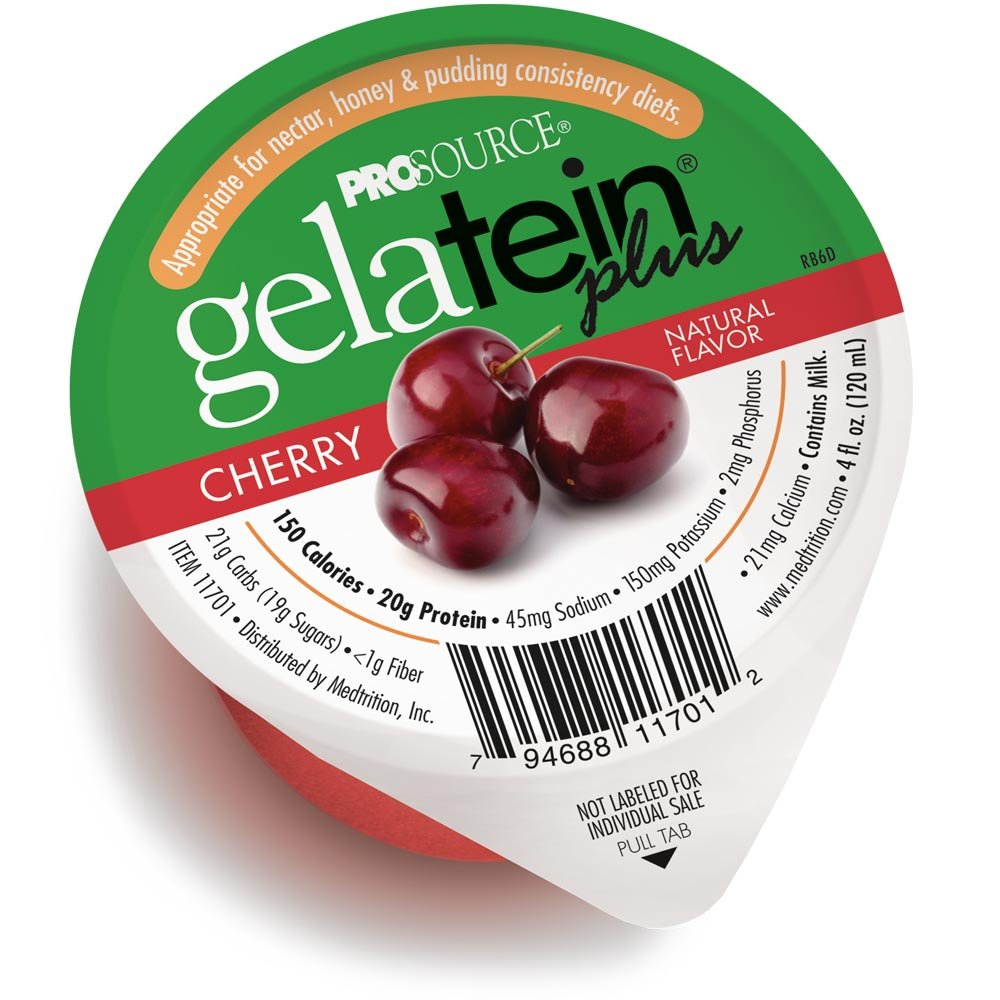 GelaTein Plus Cherry: 20 grams of protein. Ideal for clear liquid diets, swallowing difficulties, bariatric, dialysis and oncology. Great pre or post-workout snack. (36 pack) by Medtrition