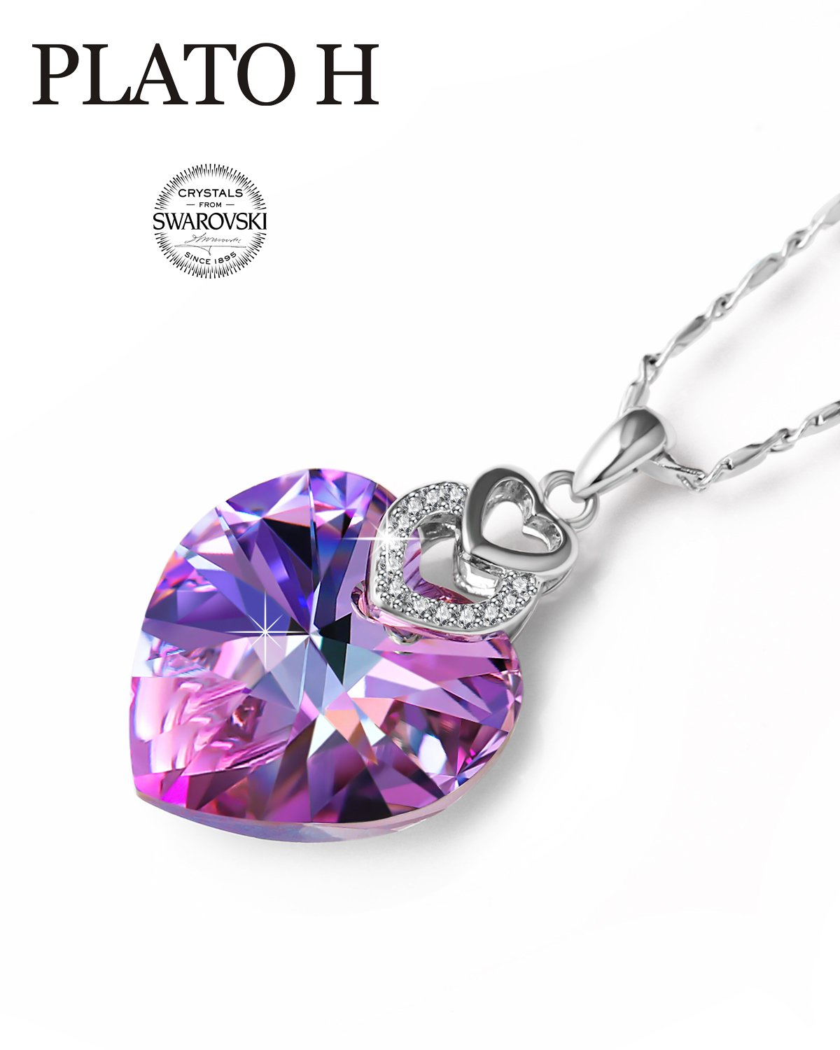 Swarovski Element Necklace Color Changing Crystal Love Heart Pendant Necklace for Women, Birthday Birthstone Jewelry Gifts for Girl, Amethyst Purple Pink, 20''