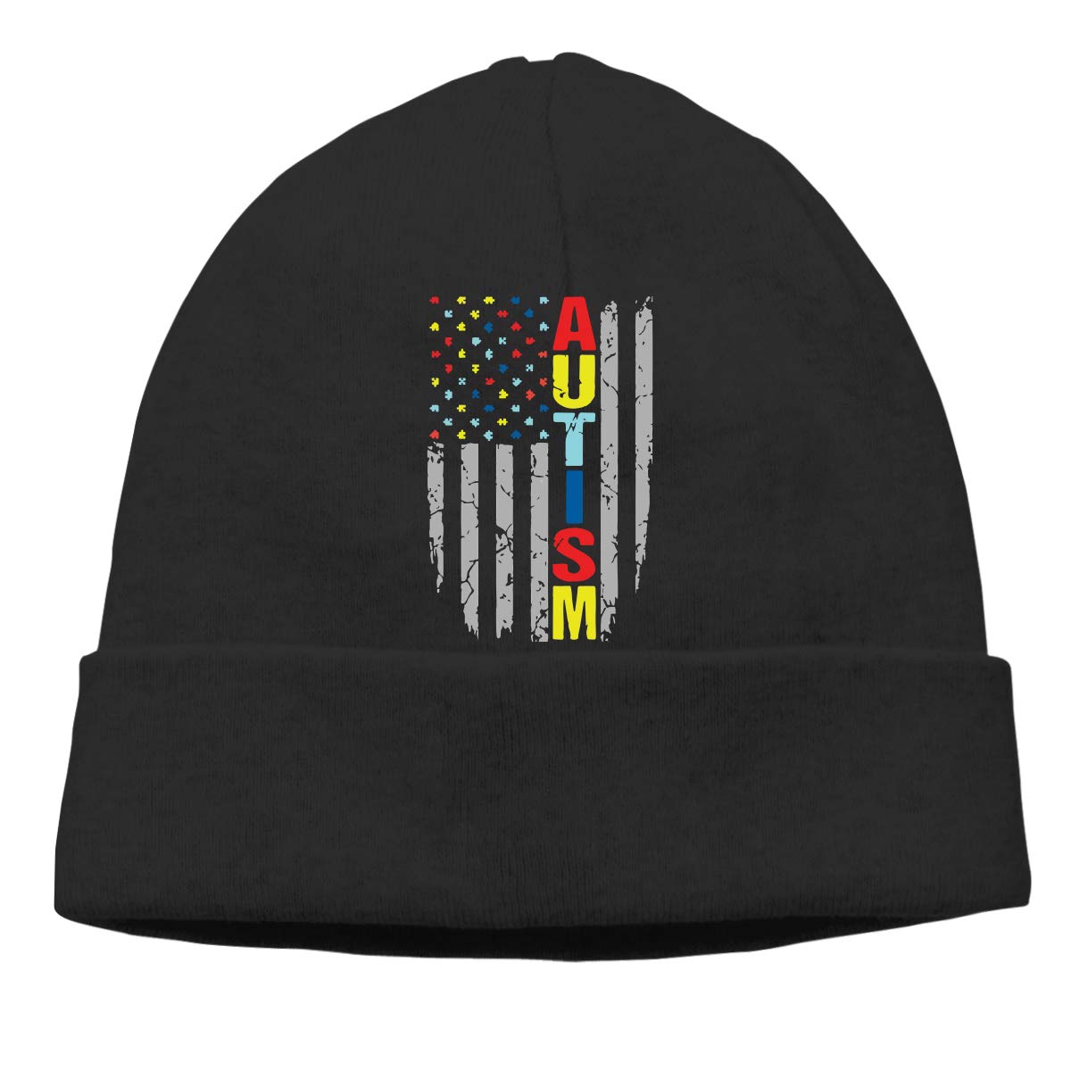 COLLJL8 Unisex Autism Awareness American Flag Outdoor Warm Beanies Hat Soft Winter Skull Caps