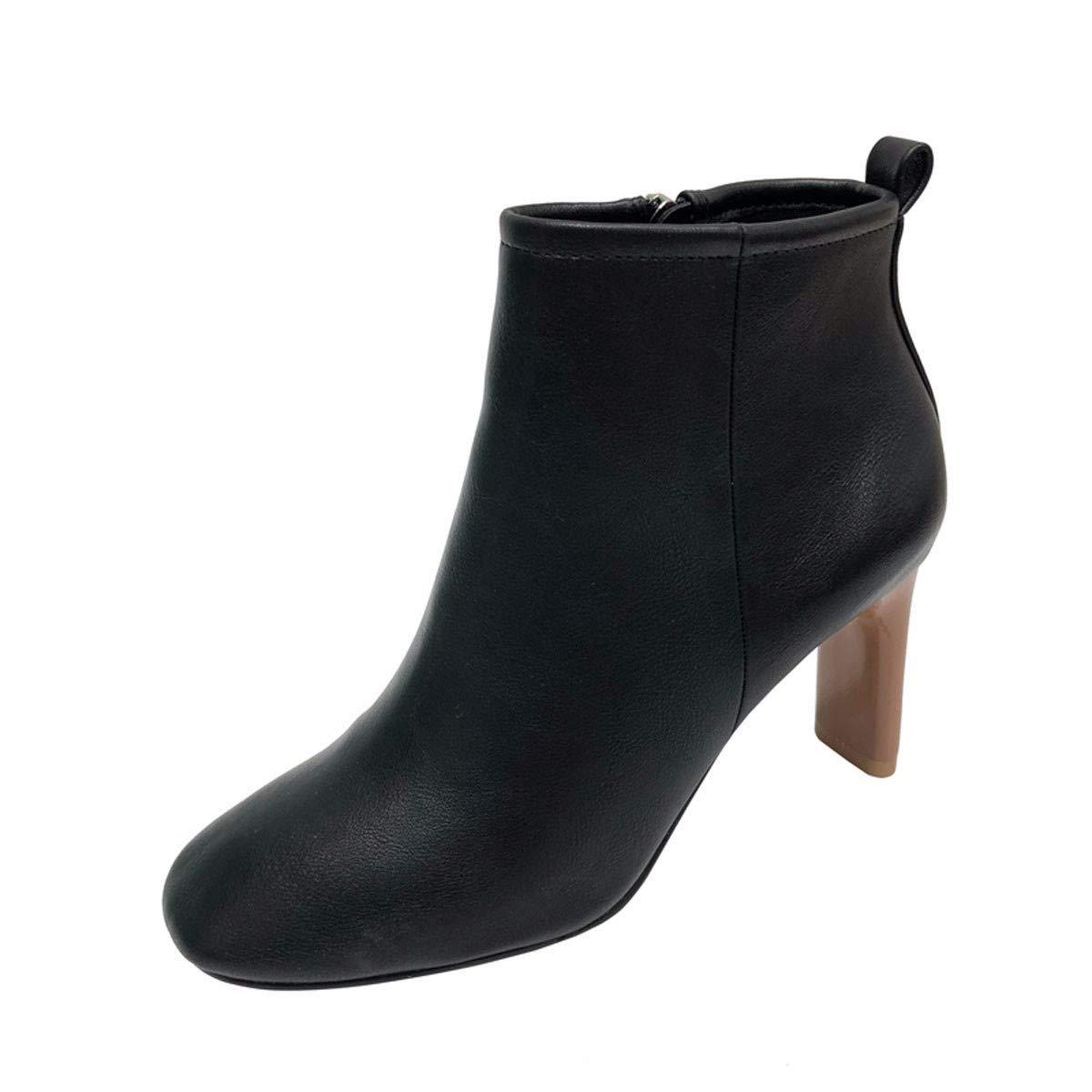 HBDLH Damenschuhe/Einfache Runden Kopf Mit Hohen 7Cm Kurze Stiefel Retro Wild Farbe Hart Ma Dingxue