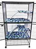 Piggy BedSpreads Fleece Liners for Ferret Nation Critter Nation Cage (Double, Jacobean Floral) Cage Not Included