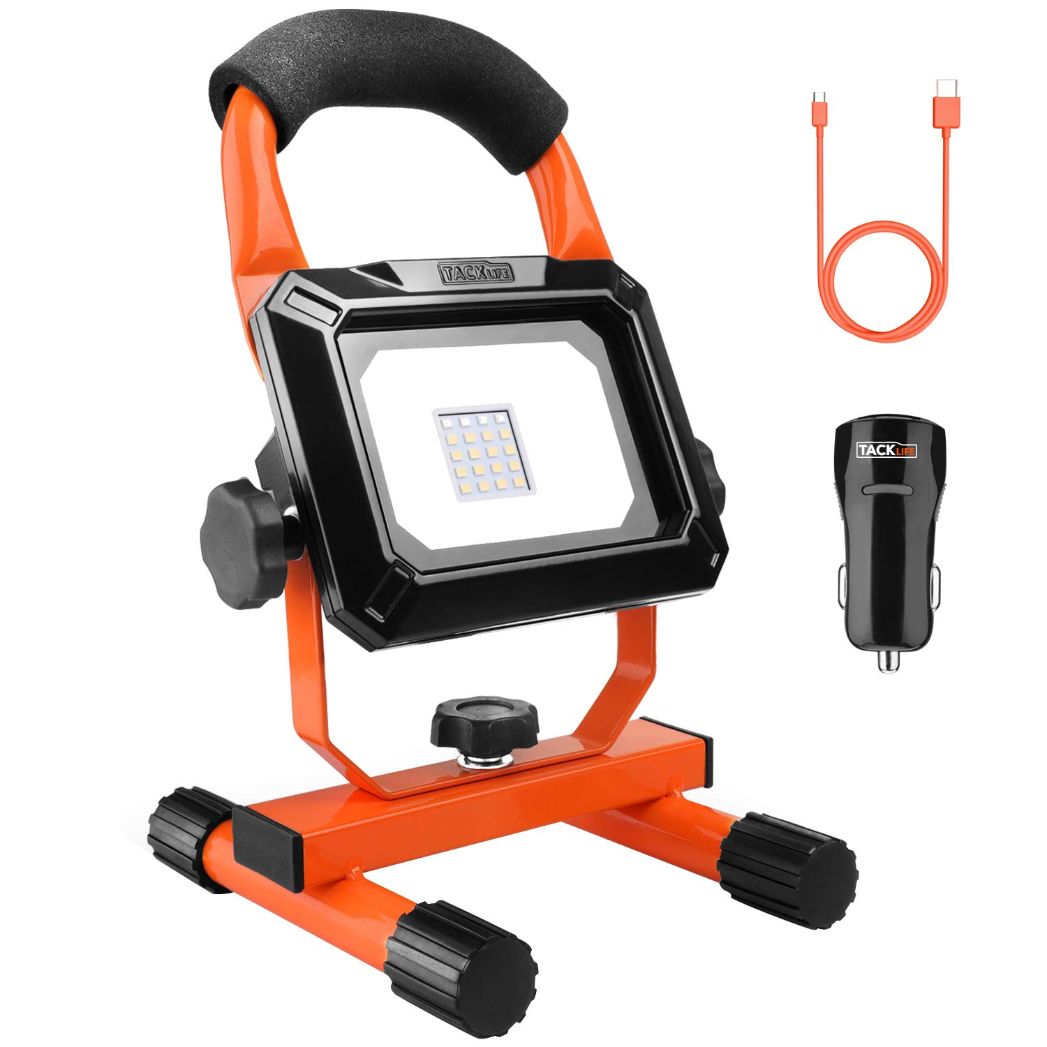Tacklife 15W Rechargeable LED Work Light, Spotlights, Camping Lights, 4400mAh Lithium Batteries Built-in, with USB Ports to Charge Mobile Devices and Special SOS Modes, Free Car Charger - LWL1B