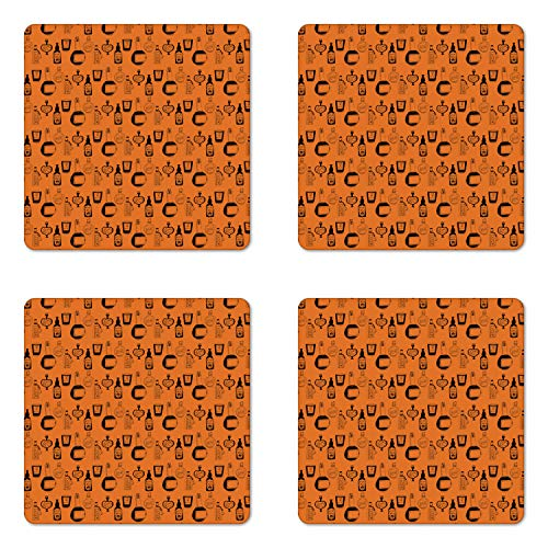 Ambesonne Apothecary Coaster Set of Four, Halloween Themed