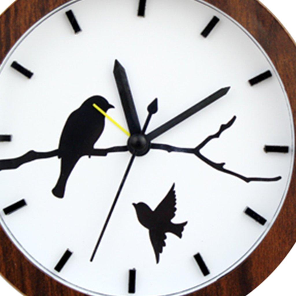 Sharplace Silencieux Alarm Horloge R/éveil Snooze Clock Maison Bureau Salle Chambre en Bois Bois Blanc avec Oiseau