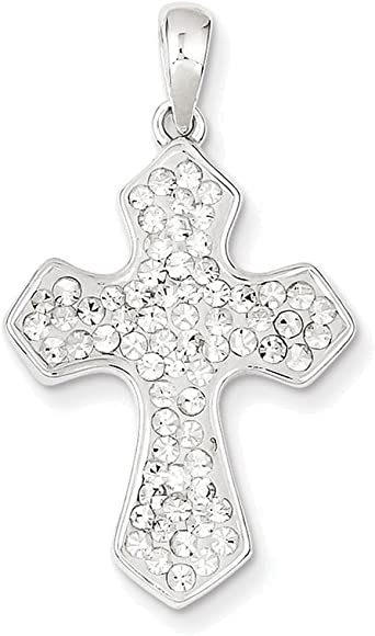 925 Sterling Silver Stellux Crystal White Cross Pendant