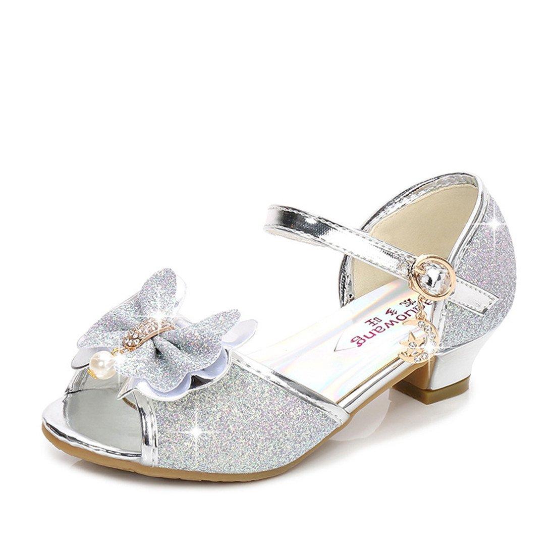Sandals for Girls Low Heel Light Sliver Toddler Wedding Dress Shoes Size 11 Princess Sequin Little Girls Cute Rhinestone (Sliver 26)