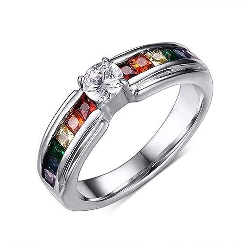 Titanio Acero Inoxidable Anillos de boda anillo de compromiso promesa banda de orgullo lgbt gay lesbiana