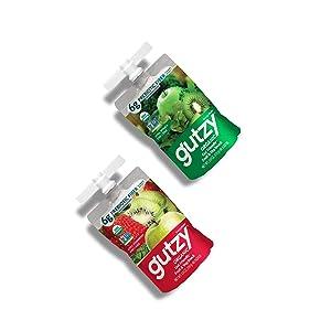 Gutzy Organic Gut Healthy Smoothie Snack Pouches - Fruit & Veg Energy 32 Pouch Variety Pack- Organic, Prebiotics, Plant Based, Gluten Free, Vegan Snacks