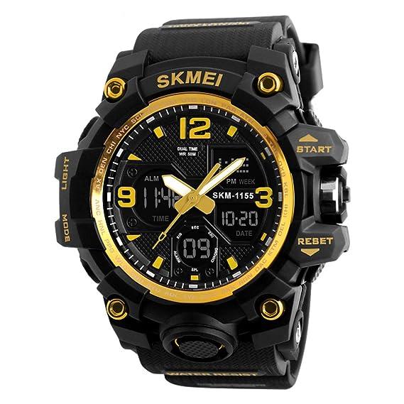 Relojes Hombre G Style Militar Digitales Grandes Al Aire Libre 50M Resistente Al Agua y Golpes Alarma Hombre Deportivo Reloj Color de Negro y Amarillo: ...