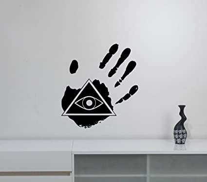 Palm Hand Freemason Sign Wall Sticker All Seeing Eye Vinyl Decal