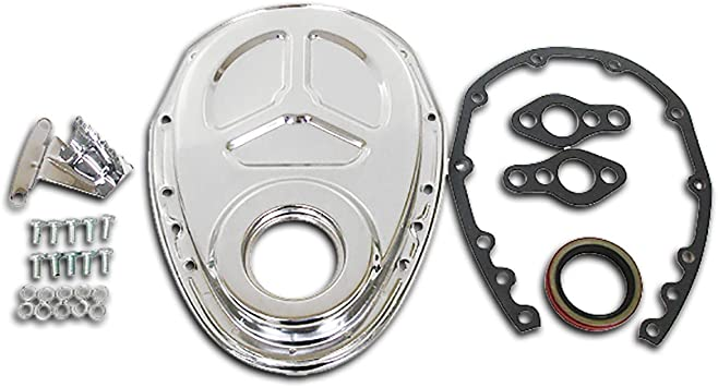 Small Block Chevy Steel Black Timing Chain Cover w// Tab  283 305 327 350 400 SBC