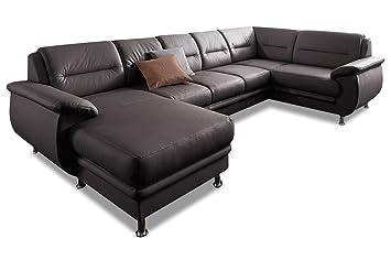 Sofa Couch Premium Leder Wohnlandschaft Venedig Braun Amazon De