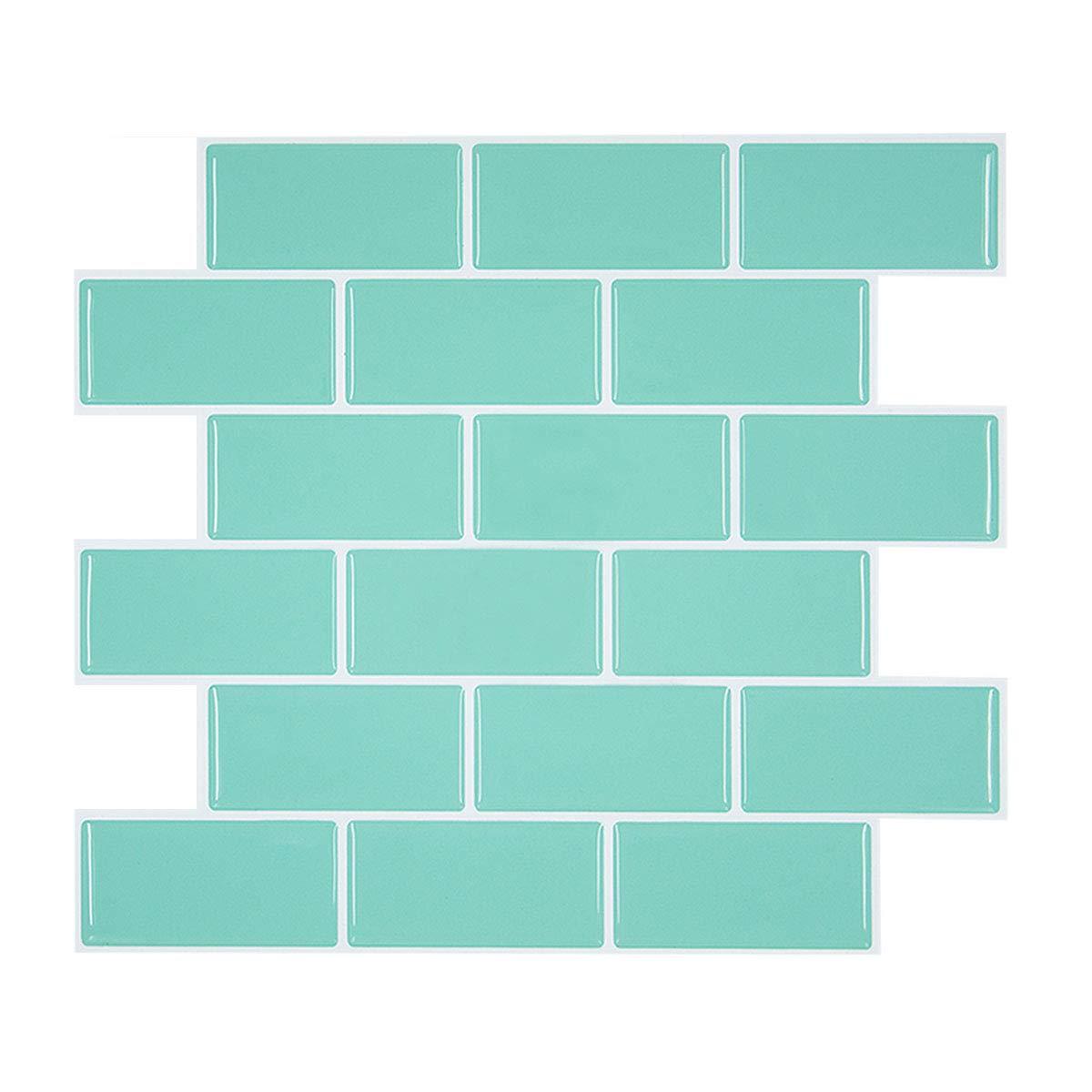 HUE DECORATION Teal Peel and Stick Subway Tile Backsplash for Kitchen & RV Room, Anti Mold Peel and Stick Tile Backsplash for Rental Apartment 11.26'' x 10'' Pack of 4