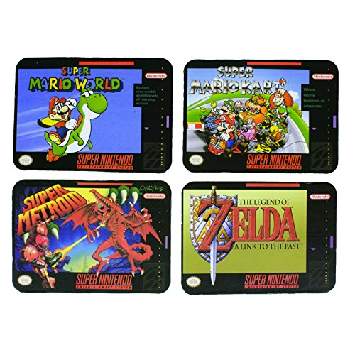 SNES Cork Backed Drinking Coasters Set Featuring Zelda - Super Mario World - Super Mario Kart - Super Metroid - Officially Licensed Nintendo Product ()
