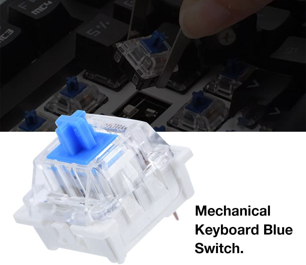 Lazmin 10 Pcs Mechanical Keyboard Blue Switch 3 Pin Keyswitch DIY Replaceable Switches for Mechanical Gaming Keyboard NewGiant RGB Serie
