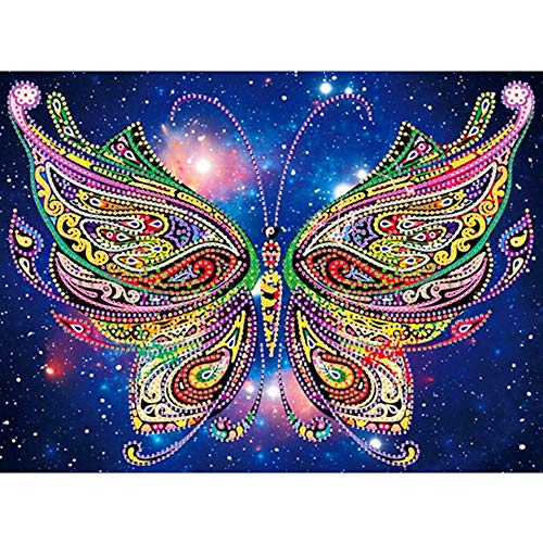 DIY 5D Diamond Painting Kit, Cross Stitch Crystal Embroidery Rhinestones Craft 5D Drilled Resin Diamond Painting by Number Kits (Butterfly)