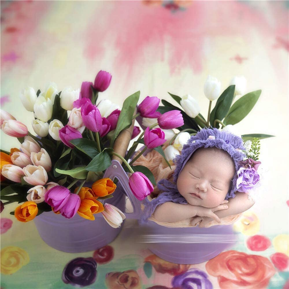 Sharely Sheep Iron Flower Basket Newborn Twins Photography Props Baby Boy Girl Photoshoot Studio Posing Floral Basket Light Purple