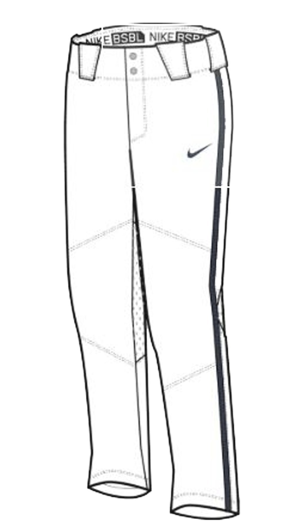 Nike Stock Vapor Pro Pant Piped Youth Team White/Team Navy/Team Navy Size YXL