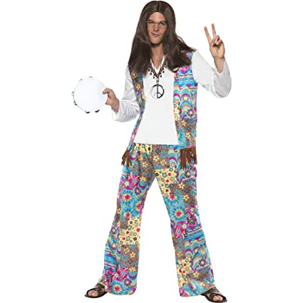 NET TOYS Traje Flower Power Hippie años 70 Disfraz 60 Hombre ...