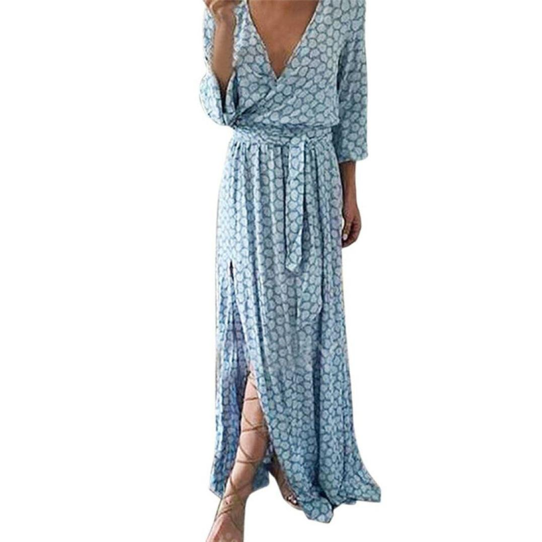 OOEOO Women Long Sleeve V Neck Printed Long Maxi Dress with Belt Split Hem Gown (Blue, L) by OOEOO Maxi Dress