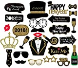 Funny 2018 Happy New Years Photo Booth Props - Gold Glitter New Years Eve Party Favor Supplies DIY Kit - 31Pcs
