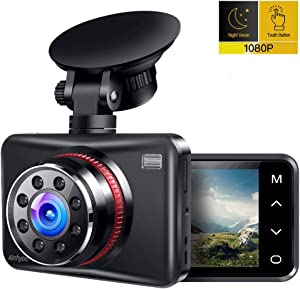 """Dash Cam, AINHYZIC 1080P Dash Camera for Cars, 2.7"""" Touch Button Screen Car Driving Recorder with 170° Wide Angle and Infrared Night Vision, Motion Detection, G Sensor, Loop Recording, Parking Monitor"""