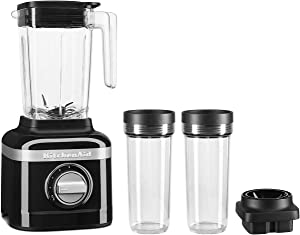 KitchenAid KSB1332OB 48oz, 3 Speed Ice Crushing Blender with 2 x 16oz Personal Jars to Blend and Go, Onyx Black