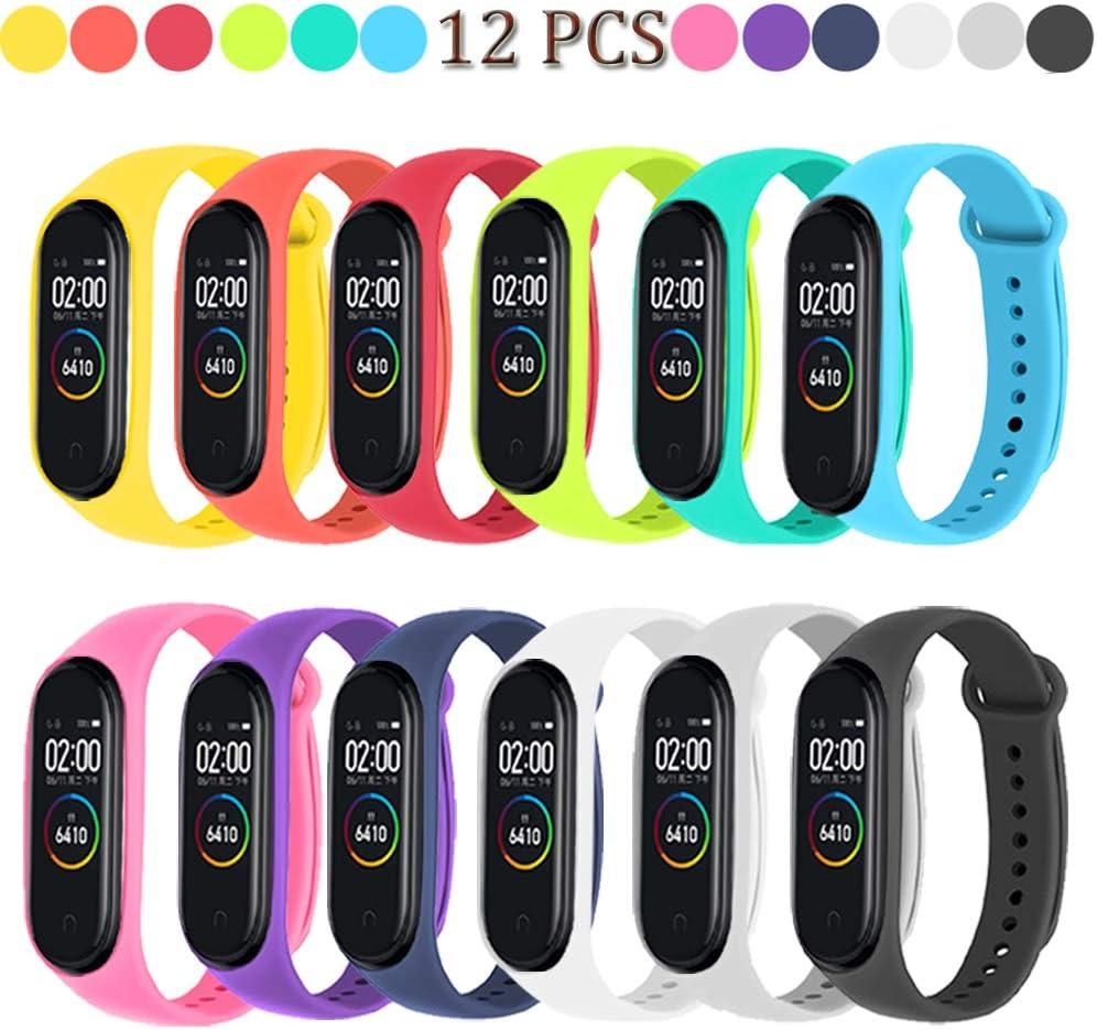 Acalder 12 Piezas Correas para Xiaomi Mi Band 4 /Mi Band 3 Pulsera Reloj Silicona Banda para Mijia Mi Band 4-12 Colores
