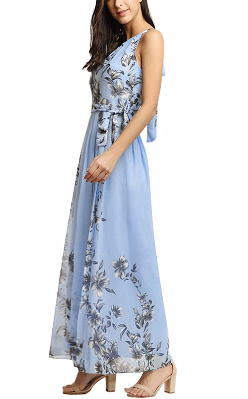 82e891bcf0 Women's Sleeveless Halter Neck Vintage Floral Print Maxi Dress at Amazon  Women's Clothing store:
