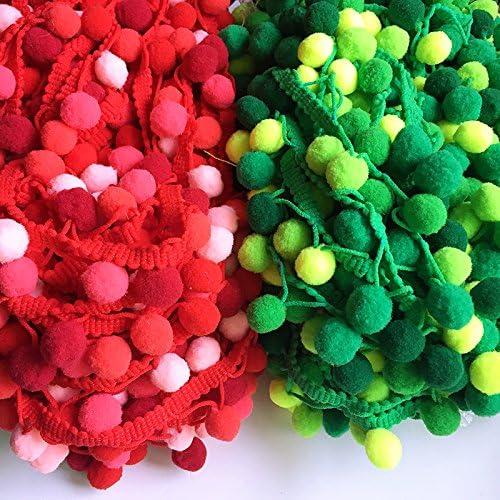 Yalulu 5 Yards Arc en Ciel Pom Pom Ballon avec Bordure /à Pompons de Taille Moyenne Frange Trim Dentelle Couture Ruban Beige