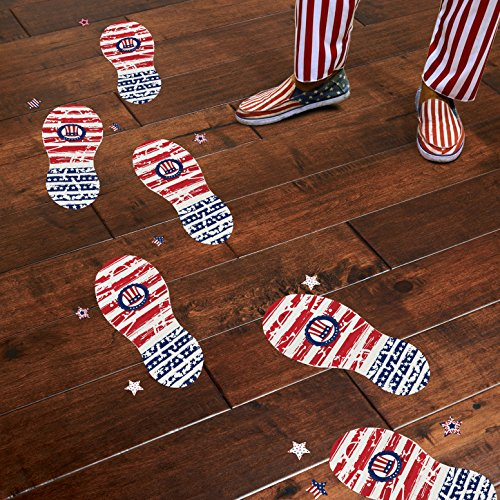 luck sea Uncle Sam Footprints Floor Clings-4th /Fourth of July Patriotic Decorations Party Supplies Decals Stickers ()