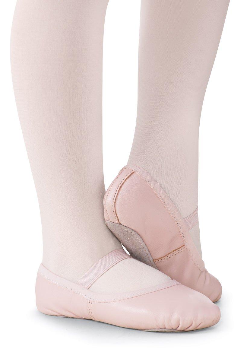 Balera Girls' No-Tie Ballet Shoe Leather Full Sole
