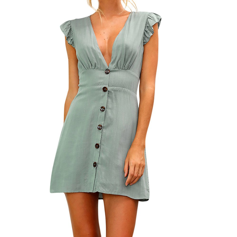 Sherostore ♡ Womens Sexy Solid Summer Button Up Sleeveless V Neck Short Ruffle Mini Dress Sundress Green