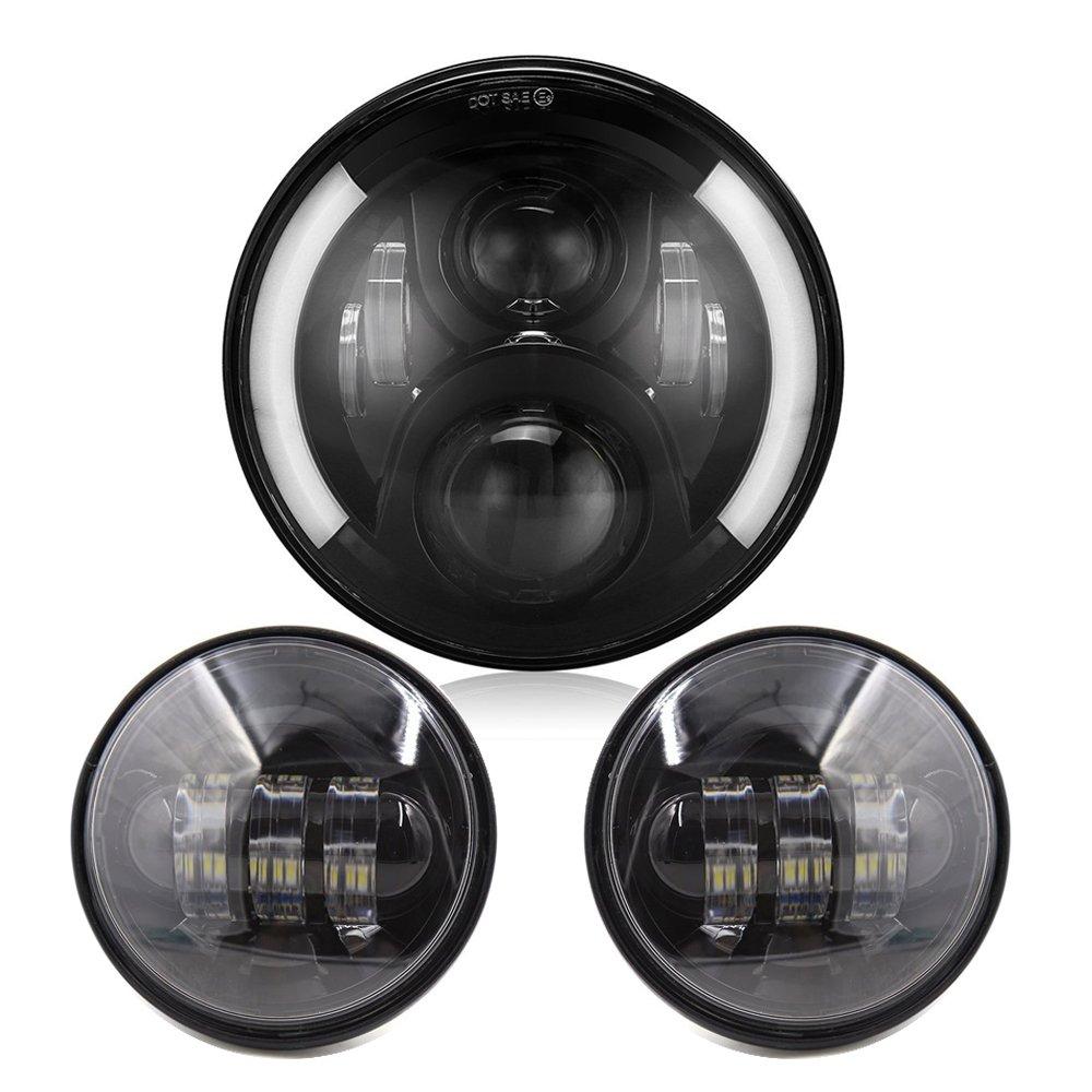 Esyauto ハーレー汎用 7インチ Osram LED ヘッドライト(1個)+4.5インチLEDフォグランプ(2個) LED補助灯 ライトセット 一年保証付き ブラック 取付簡単 高品質 高輝度 高防水 高防塵 長寿命 低消耗 車検対応 B0759XD748 黒